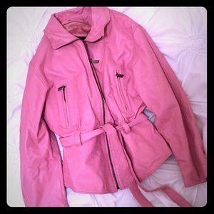 Pink Italian leather coat